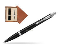 Parker Urban Muted Black CT Ballpoint Pen in single wooden box  Mahogany Single Ecru