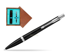 Parker Urban Muted Black CT Ballpoint Pen  single wooden box  Mahogany Single Turquoise