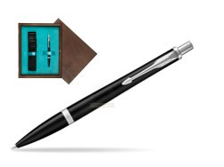Parker Urban Muted Black CT Ballpoint Pen in single wooden box  Wenge Single Turquoise