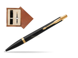 Parker Urban Muted Black GT Ballpoint Pen  single wooden box  Mahogany Single Ecru