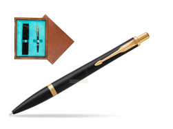 Parker Urban Muted Black GT Ballpoint Pen  single wooden box  Mahogany Single Turquoise