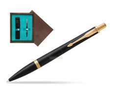 Parker Urban Muted Black GT Ballpoint Pen  single wooden box  Wenge Single Turquoise