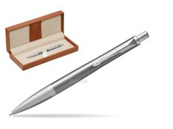 Parker Urban Premium Silvered Powder Cap CT Ballpoint Pen  in classic box brown