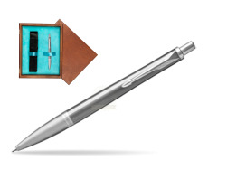 Parker Urban Premium Silvered Powder Cap CT Ballpoint Pen in single wooden box  Mahogany Single Turquoise