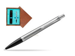 Parker Urban Metro Metallic CT Ballpoint Pen in single wooden box  Mahogany Single Turquoise