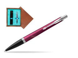 Parker Urban Vibrant Magenta CT Ballpoint Pen  single wooden box  Mahogany Single Turquoise