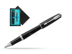 Parker Urban Muted Black CT Rollerball Pen  single wooden box  Black Single Turquoise