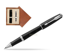 Parker Urban Muted Black CT Rollerball Pen in single wooden box  Mahogany Single Ecru