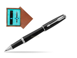 Parker Urban Muted Black CT Rollerball Pen in single wooden box  Mahogany Single Turquoise