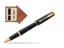 Parker Urban Muted Black GT Rollerball Pen in single wooden box  Mahogany Single Ecru