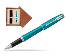 Parker Urban Vibrant Blue CT Rollerball Pen  single wooden box  Mahogany Single Ecru