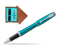 Parker Urban Vibrant Blue CT Rollerball Pen  single wooden box  Mahogany Single Turquoise