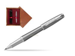 Parker Urban Premium Silvered Powder CT Rollerball Pen in single wooden box Mahogany Single Maroon