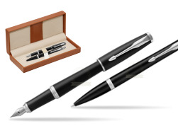 Parker Urban Muted Black CT T2016 Fountain Pen + Ballpoint Pen in a Gift Box   in classic box brown