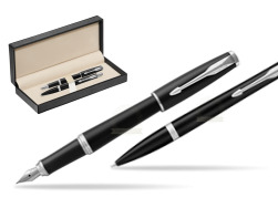 Parker Urban Muted Black CT T2016 Fountain Pen + Ballpoint Pen in a Gift Box   in classic box  pure black