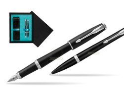 Parker Urban Muted Black CT T2016 Fountain Pen + Ballpoint Pen in a Gift Box   double wooden box Black Double Turquoise