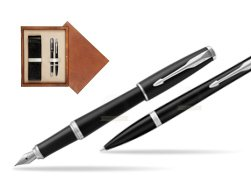 Parker Urban Muted Black CT T2016 Fountain Pen + Ballpoint Pen in a Gift Box   double wooden box Mahogany Double Ecru
