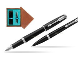Parker Urban Muted Black CT T2016 Fountain Pen + Ballpoint Pen in a Gift Box   double wooden box Mahogany Double Turquoise