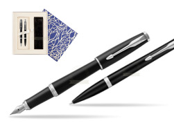 Parker Urban Muted Black CT T2016 Fountain Pen + Ballpoint Pen in a Gift Box   Universal Crystal Blue