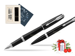 Parker Urban Muted Black CT T2016 Fountain Pen + Ballpoint Pen in a Gift Box  in Christmas Gift Box navy blue