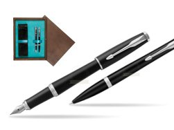 Parker Urban Muted Black CT T2016 Fountain Pen + Ballpoint Pen in a Gift Box   double wooden box Wenge Double Turquoise