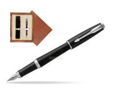 Parker Urban Muted Black CT Fountain Pen  in single wooden box  Mahogany Single Ecru