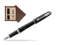 Parker Urban Muted Black CT Fountain Pen  in single wooden box  Wenge Single Ecru