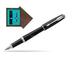 Parker Urban Muted Black CT Fountain Pen  in single wooden box  Wenge Single Turquoise