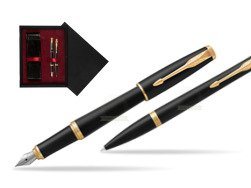 Parker Urban Muted Black GT Fountain Pen T2016 + Ballpoint Pen in a Gift Box  double wooden box Black Double Maroon