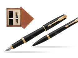 Parker Urban Muted Black GT Fountain Pen T2016 + Ballpoint Pen in a Gift Box  double wooden box Mahogany Double Ecru