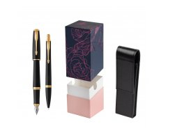 Parker Urban Muted Black GT Fountain Pen T2016 + Ballpoint Pen in a Gift Box in gift box StandUP Roses