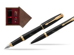 Parker Urban Muted Black GT Fountain Pen T2016 + Ballpoint Pen in a Gift Box  double wooden box Wenge Double Maroon