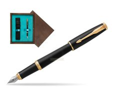 Parker Urban Muted Black GT Fountain Pen   single wooden box  Wenge Single Turquoise