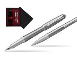 Parker Urban Premium Silvered Powder CT Fountain Pen + Ballpoint Pen in a Gift Box  double wooden box Black Double Maroon