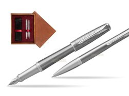 Parker Urban Premium Silvered Powder CT Fountain Pen + Ballpoint Pen in a Gift Box in double wooden box Mahogany Double Maroon
