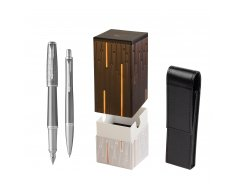 Parker Urban Premium Silvered Powder CT Fountain Pen + Ballpoint Pen in a Gift Box in gift box StandUP Matrix