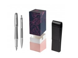 Parker Urban Premium Silvered Powder CT Fountain Pen + Ballpoint Pen in a Gift Box  StandUP Roses