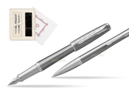 "Parker Urban Premium Silvered Powder CT Fountain Pen + Ballpoint Pen in a Gift Box  ""Pure Love"""