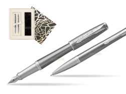Parker Urban Premium Silvered Powder CT Fountain Pen + Ballpoint Pen in a Gift Box in Standard Gift Box