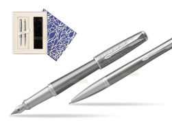 Parker Urban Premium Silvered Powder CT Fountain Pen + Ballpoint Pen in a Gift Box  Universal Crystal Blue