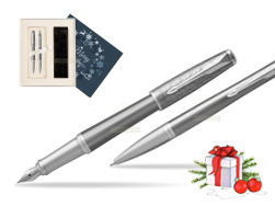 Parker Urban Premium Silvered Powder CT Fountain Pen + Ballpoint Pen in a Gift Box in Christmas Gift Box navy blue