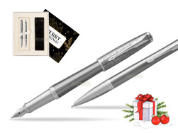 Parker Urban Premium Silvered Powder CT Fountain Pen + Ballpoint Pen in a Gift Box w Christmas Gift Box Magic of Christmas