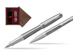 Parker Urban Premium Silvered Powder CT Fountain Pen + Ballpoint Pen in a Gift Box  double wooden box Wenge Double Maroon