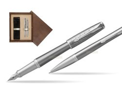 Parker Urban Premium Silvered Powder CT Fountain Pen + Ballpoint Pen in a Gift Box  double wooden box Wenge Double Ecru