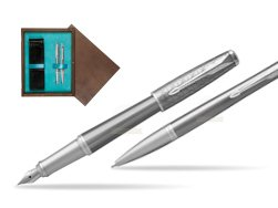 Parker Urban Premium Silvered Powder CT Fountain Pen + Ballpoint Pen in a Gift Box  double wooden box Wenge Double Turquoise