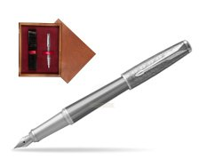 Parker Urban Premium Silvered Powder CT Fountain Pen   single wooden box Mahogany Single Maroon