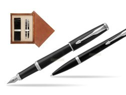 Parker Urban Black Cab CT Fountain Pen + Ballpoint Pen in a Gift Box T2016 in double wooden box Mahogany Double Ecru