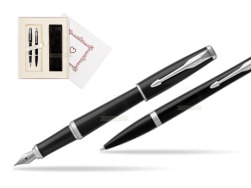 "Parker Urban Black Cab CT Fountain Pen + Ballpoint Pen in a Gift Box T2016 in Gift Box ""Pure Love"""