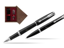 Parker Urban Black Cab CT Fountain Pen + Ballpoint Pen in a Gift Box T2016  double wooden box Wenge Double Maroon