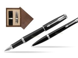 Parker Urban Black Cab CT Fountain Pen + Ballpoint Pen in a Gift Box T2016  double wooden box Wenge Double Ecru